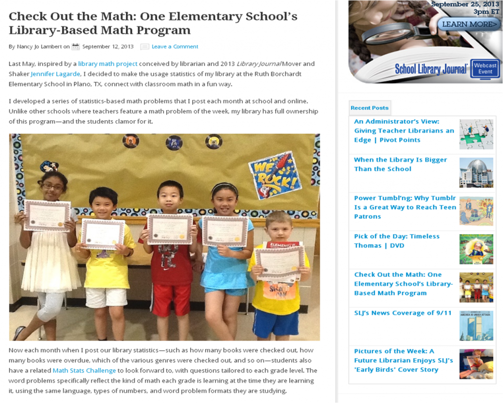 SLJ Math Stats Challenge Article