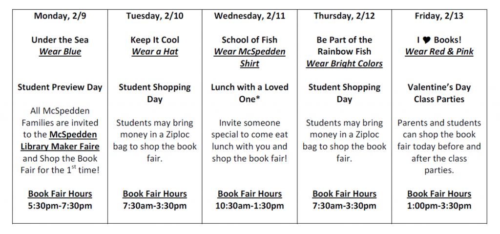Book Fair Spring Schedule
